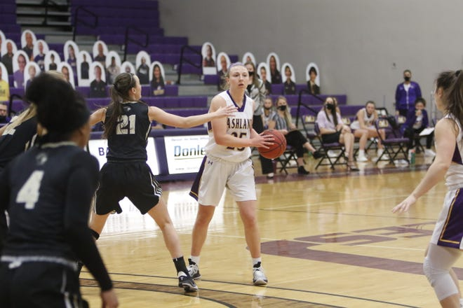 Karlee Pireu of Ashland University looks to make a play against  Purdue University Northwest, March 2, 2021 at Kates Gymnasium. Photo by Tom E. Puskar