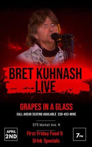 Bret Kuhnash will be performing at 7 p.m. Friday at Grapes in a Glass in downtown Canton as part of the First Friday events.