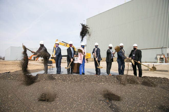 Local and state representatives and company executives ceremoniously break ground at Ingersoll Machine Tools Tuesday, March 30, 2021, in Rockford, in preparation for construction of parts for the Magellan telescope.