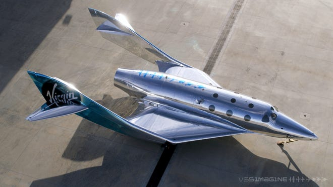 The VSS Imagine is the first SpaceShip III in the Virgin Galactic Fleet in Mojave, Calif. The company hopes to resume test flights in the coming months at its headquarters in the New Mexico desert.