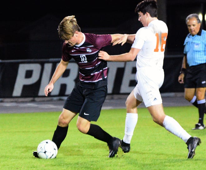 Braden River High senior striker Grant Hill, left, had 18 goals and 17 assists for the Pirates this.