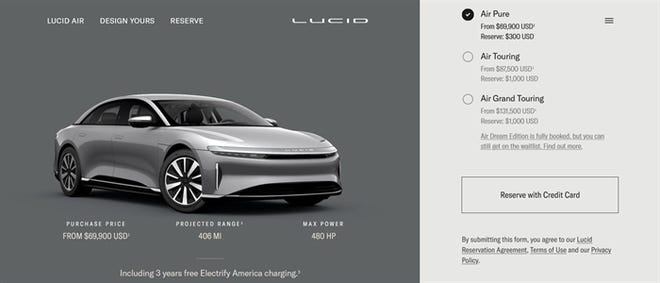 Automobile dealers in Illinois are suing the secretary of state and a pair of electric vehicle companies, including Lucid Motors, challenging the companies' ability to sell their vehicles online, rather than through a dealership, as pictured in this screenshot.t: )