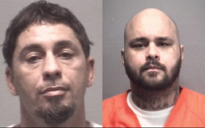 Kelvin Sealey (left) and John Sealey were charged with multiple felony counts after police say they stole vehicles and work equipment in New Hanover County.