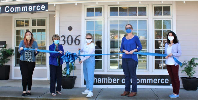 The Rehoboth Beach–Dewey Beach Chamber of Commerce celebrated new member Aliia's Seashore Cleaning with a ribbon-cutting March 15. From left, Abigail Kaiser and Carol Everhart, RBDB Chamber; Aliia Stockman, owner, and Meghan McCalley and Emily Grothey, RBDB Chamber.