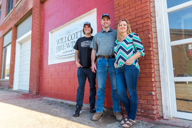 Willcott Brewing Co., which is owned by Scott and Jennifer Willcott, will be the first brewery to open in Holton. Will Heinen, left, is the in-house brewer.