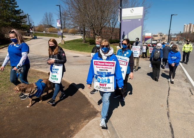 St. Vincent Hospital nurses continue to walk the picket line on Tuesday, March 30, 2021.