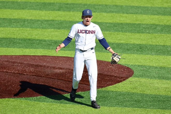 UConn right-hander Pat Gallagher of Leominster improved to 2-1 by pitching five shutout innings for his second consecutive start, this time to beat Boston College, 12-0.