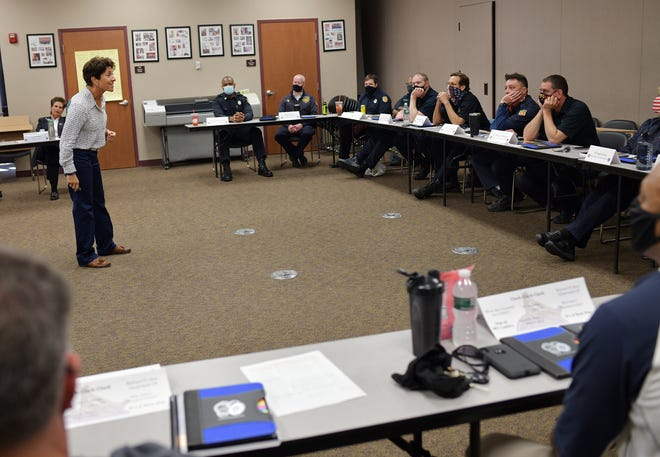 RITE Academy co-founder Randy Friedman speaks to a group of Worcester firefighters and police officers Tuesday during a training session with the RITE Academy, a racial intelligence training and workplace harassment prevention program.