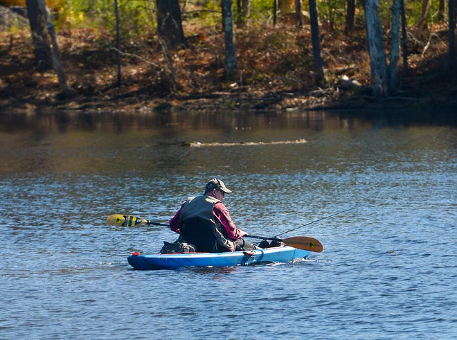 A man paddles into position with fishing gear Tuesday in the swampy section of Long Pond near Rutland State Park.