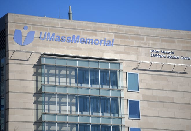 WORCESTER - Signage on the hospital at Umass Memorial University Campus on Tuesday, March 30, 2021.