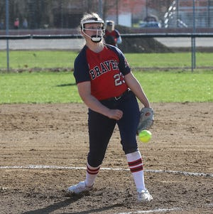 Indian Valley pitcher Mia Rose throws a pitch against Sandy Valley Monday. Indian Valley won the game 11-0 in five innings.