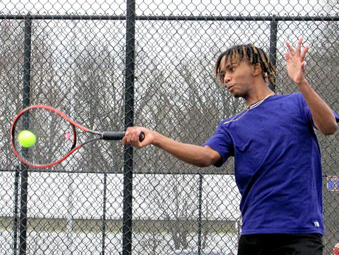 Sophomore Jaden Coley is playing first singles for the Reynoldsburg boys tennis team, which is in its second season under coach Brett Stewart. The Raiders return to action April 8 at New Albany.