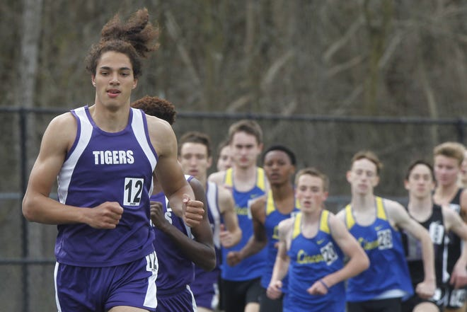 The Tigers' Garner Wallace runs in the 1,600 meters during Central's Hammond Relays on March 27. Wallace, a senior, competed on the Division I state championship 1,600 and 3,200 relays in 2019, helping the Tigers capture a second consecutive team title.