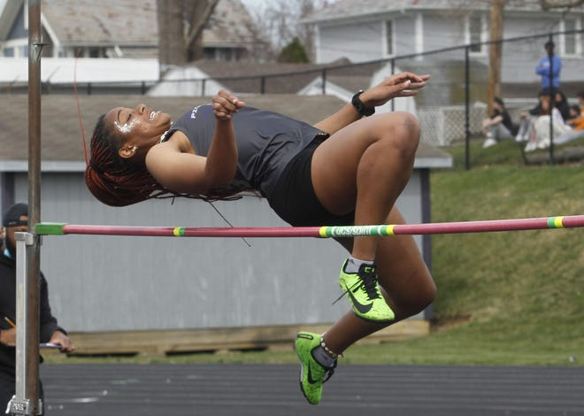 North's Mayson Bates competes in the high jump during the Hammond Relays on March 27 at Central. Bates, a senior, is expected to be one of the Panthers' top sprinters.