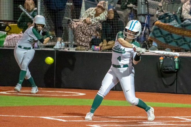 Waxahachie's Molly Gilbert (4) swings at a pitch during a March 19 win against Duncanville. The Lady Indians finished with 23 hits as they beat Waco High on Friday, 20-11.