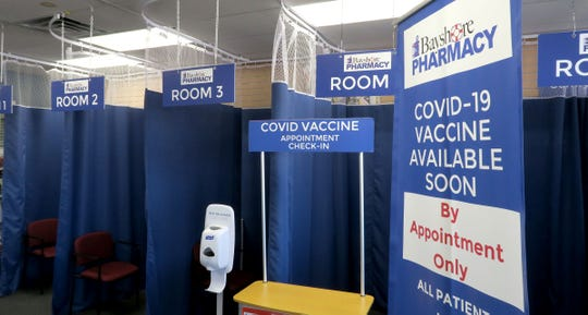 Rooms for administering COVID-19 vaccines sit empty at the Bayshore Pharmacy in Atlantic Highlands, Tuesday, March 30, 2021, as supplies of vaccines have not arrived there yet.