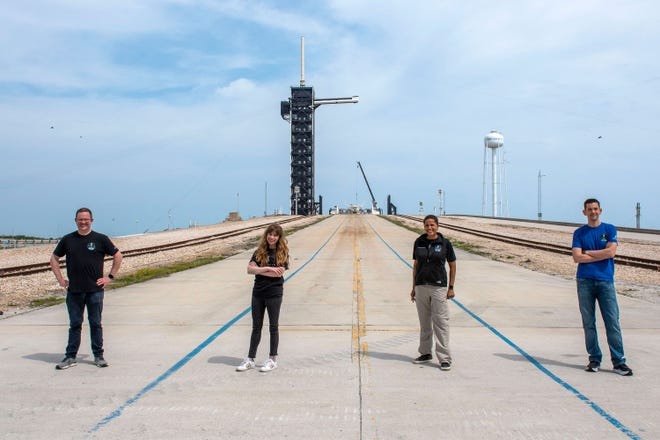 Inspiration 4 crew members Chris Sembroski, Hayley Arceneaux, Sian Proctor, and Jared Isaacman are seen at Kennedy Space Center's pad 39A. Their three-day, all-civilian mission to low-Earth orbit is targeting no earlier than September.