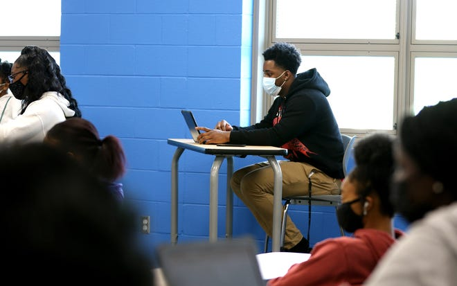 Seven Blue, during an English and AP government class on the first day of classes in the new Winton Woods North Campus in Forest Park Tuesday, March 30, 2021.