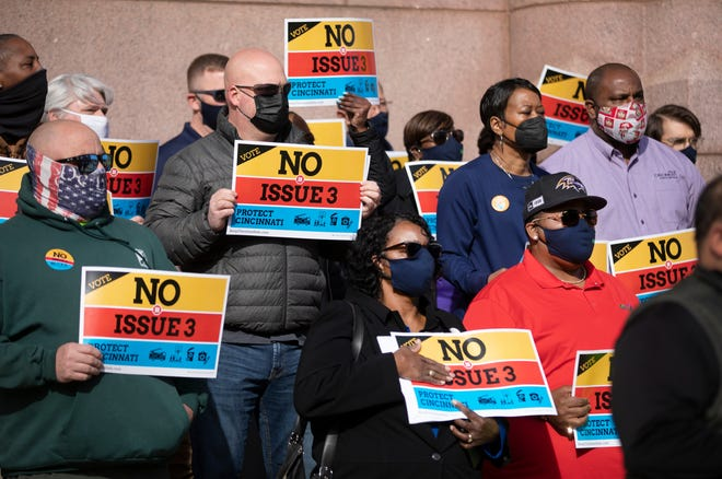 A press conference with firefighters, union leaders, nurses and politicians, was held in front of City Hall, Tuesday, March 30, 2021. They were voicing their concerns on Issue 3 and urging a no vote in May.