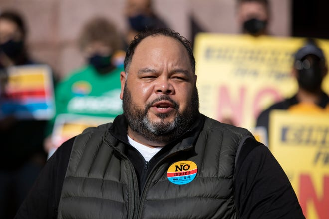 Maurice Brown, president of AFSCME Local 250, speaks at a news conference in front of City Hall, Tuesday, March 30, 2021. The union represents city employees. At the news conference, firefighters, union leaders, nurses and politicians voiced their concerns on Issue 3 and urged a no vote in May.