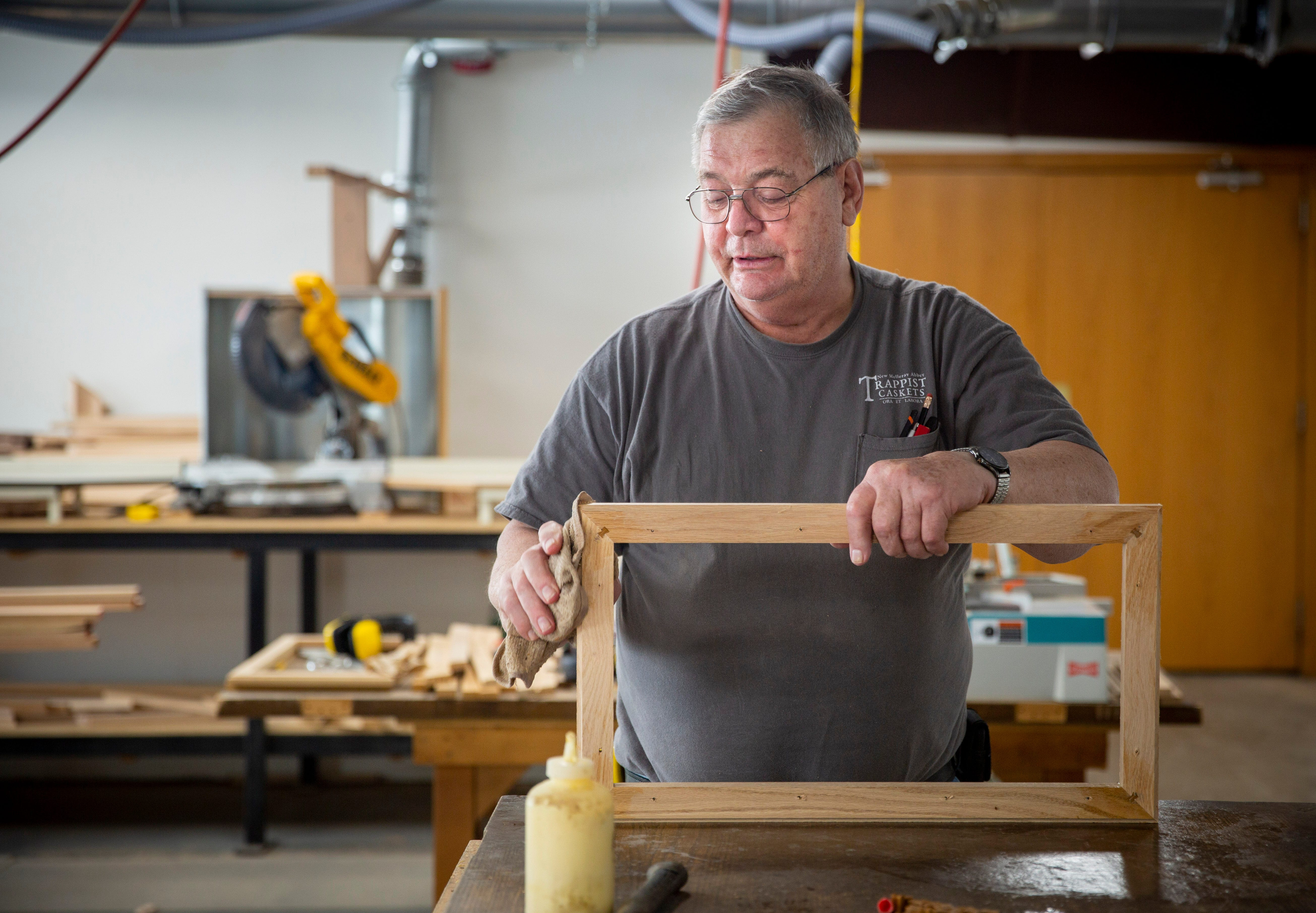 Denny Felton hand-builds caskets in a workshop near the New Melleray Abbey southwest of Dubuque on March 16, 2021.