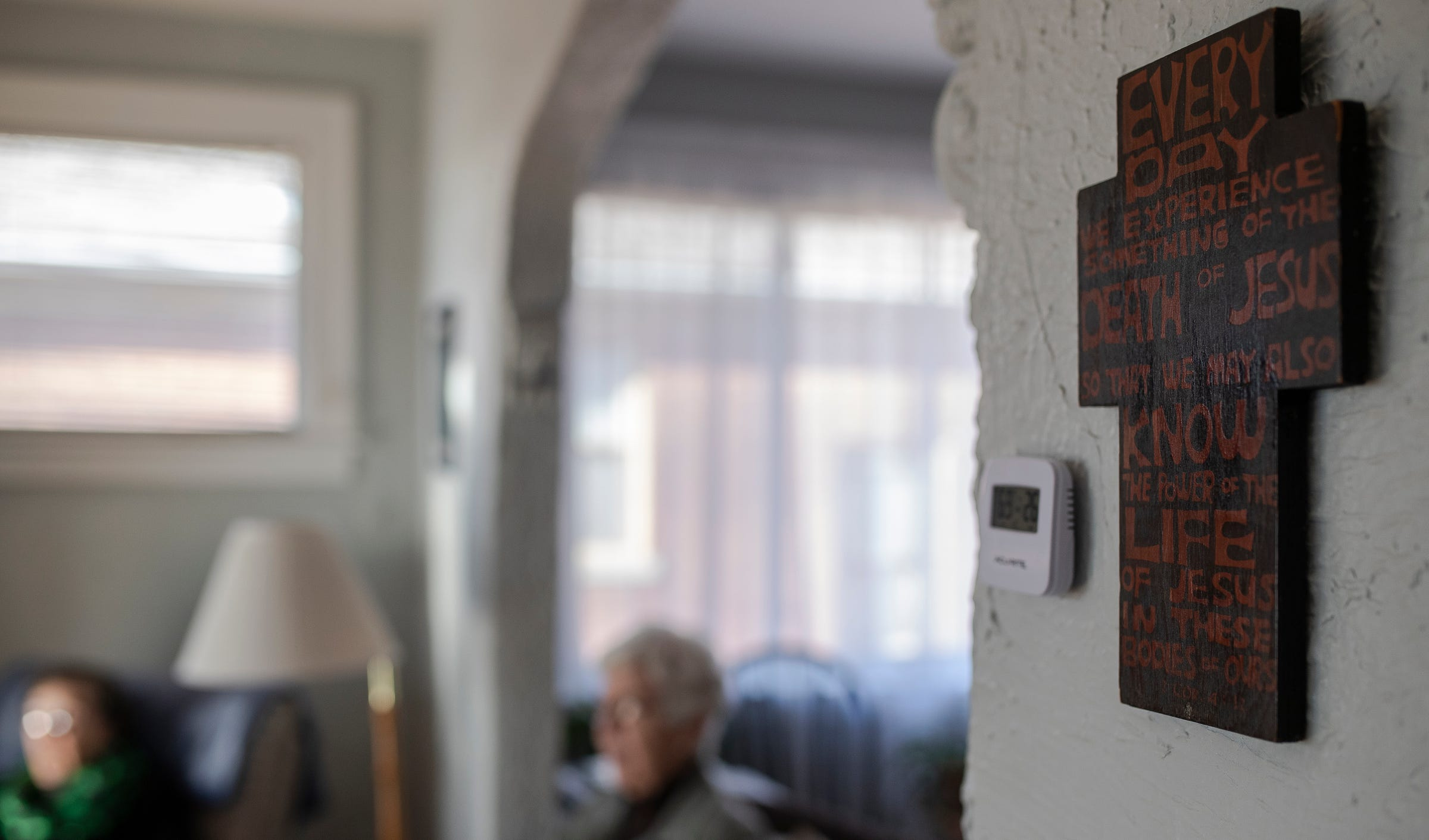 Sister Jeanne Gamache, left, and Sister Marie Benzing pray together to celebrate Saint Joseph's Day at Sister Erin McDonald and Sister Marcella Clancy's apartment in Detroit on March 19, 2021.