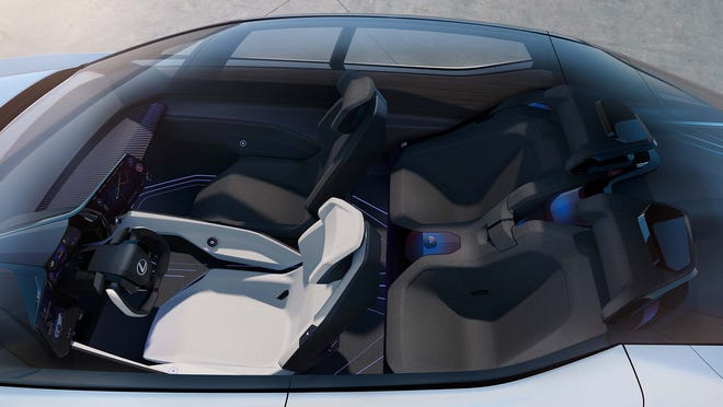 The LF-Z's panoramic sunroof allows plenty of light into the vehicle's minimalist cockpit.
