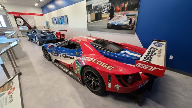 """The #68, Le Mans-winning Ford GT at The Henry Ford's """"Driven to Win: Racing in America"""" exhibit."""