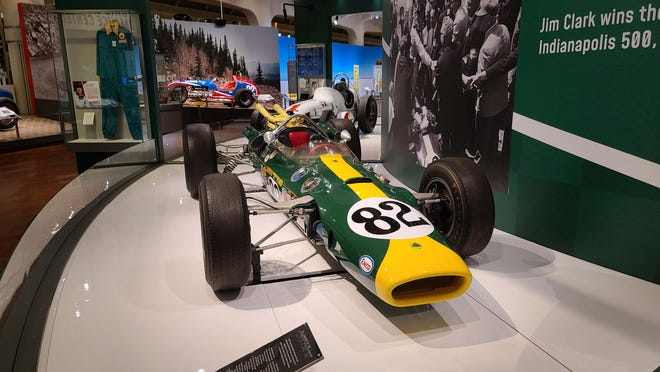 """Jimmy Clark's 1965 Indy 500-winning Lotus at The Henry Ford's """"Driven to Win: Racing in America"""" exhibit."""