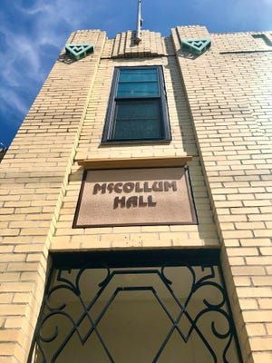 The Art Deco-style McCollum Hall used to be home to concerts and businesses in Dunbar. A planned renovation inside the historic building has yet to begin.