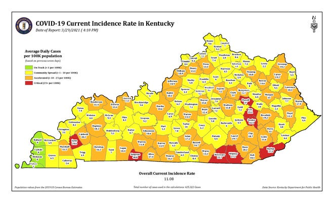 The COVID-19 current incidence rate map for Kentucky as of Monday, March 29.