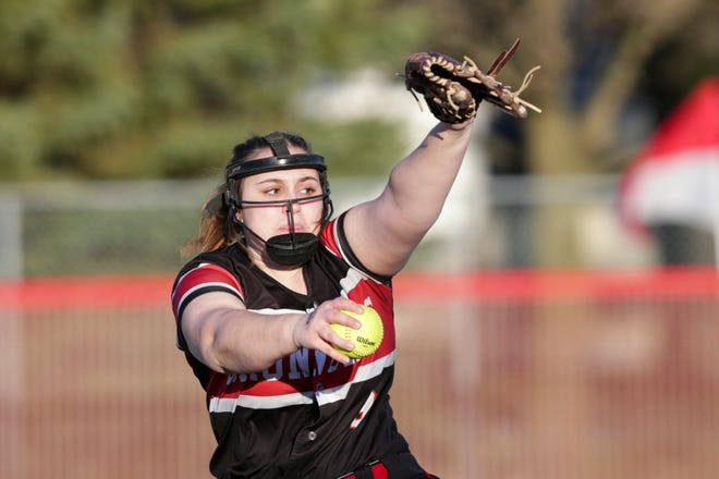Lafayette Jeff's Kaylie Adams (9) pitches during a scrimmage against West Lafayette, Monday, March 29, 2021 in West Lafayette.