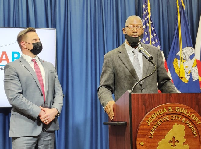 Lafayette Consolidated Government Community Development Director Hollis Conway announces the Lafayette Emergency Assistance Program alongside Mayor-President Josh Guillory on Tuesday, March 30, 2021.