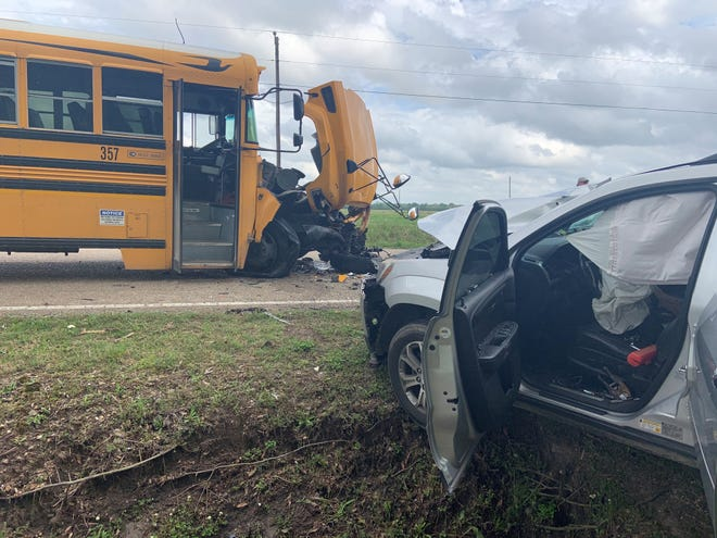 A Lafayette Parish school bus and car collided in Duson on March 30, 2021.