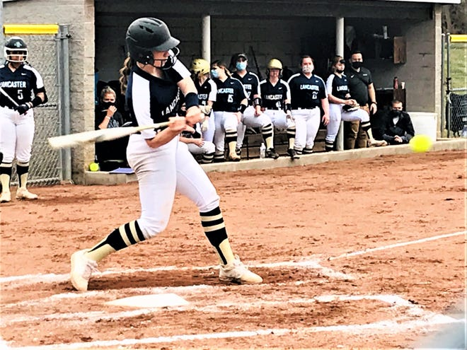 Lancaster senior Abbie Wilfing hit a home run during this swing during a Lady Gales' preseason scrimmage. As a sophomore, Wilfing  was the 2019 Eagle-Gazette Softball Player of the Year.