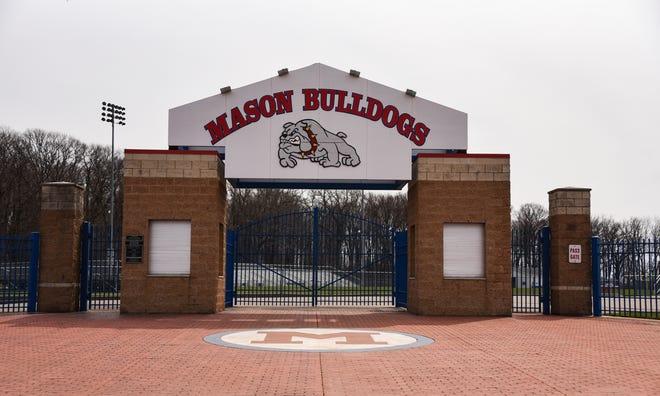 The front entrance of Mason High School's Bulldog Stadium seen Tuesday, March 30, 2021.
