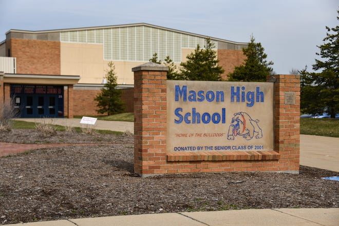The south entrance of Mason High School, pictured Tuesday, March 30, 2021.