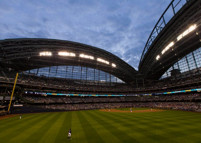 A view of Miller Park during the third inning of the game between the St. Louis Cardinals and Milwaukee Brewers on Aug 29, 2017 in Milwaukee, WI.