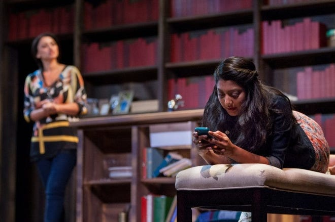 """Lipica Shah, as Mahwish, right, and Rasha Zamamiri, as Zarina, during the Gulfshore Playhouse's rehearsal of its first Ayad Akhtar play, """"The Who and the What,"""" in April 2016."""