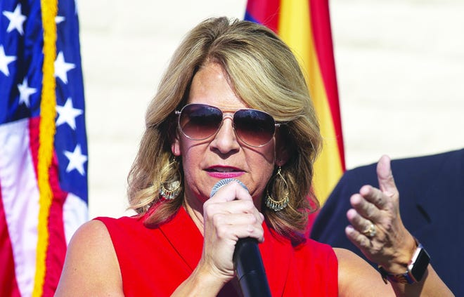 Arizona Republican Party Chair Kelli Ward speaks at a press conference on Nov. 5, 2020.
