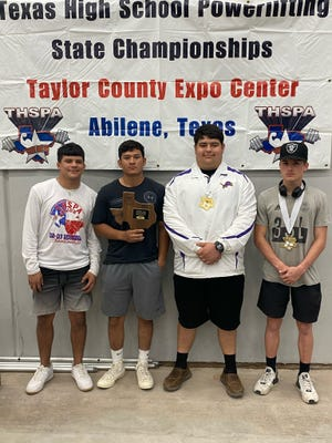 The Ozona High School boys powerlifting team consists of (from left to right) manager Jose Dominguez, Arlie Hernandez, Keano Perez and Lane Smith.