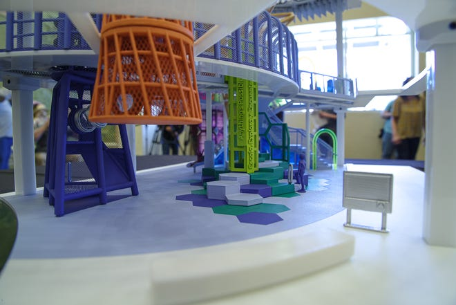 "Stephanie Otero and Josh Hunt presented a 3D-printed model of what the ""Anything's Possible Climber"" that will be part of the El Paso Children's Museum and Science Center will look like on Tuesday, March 30, 2021."