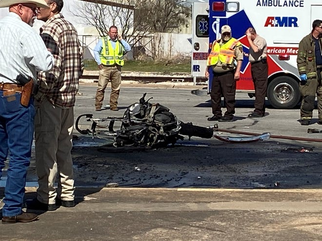 A pursuit ended in a fiery crash and the driver of a motorcycle died Tuesday afternoon.