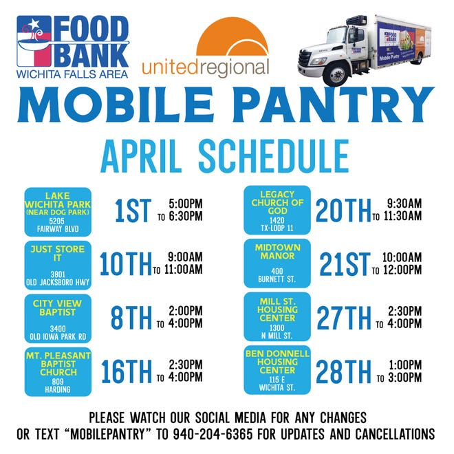 Mobile pantry dates for April.