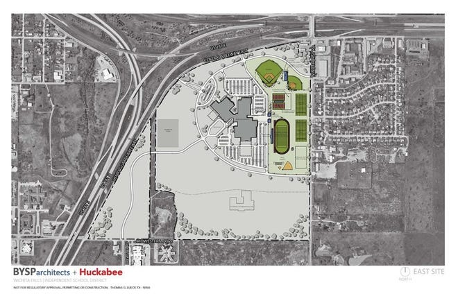 This east campus site plan shows the location of proposed athletic facilities for a new high school to be built at Windthorst Road and Henry S. Grace Freeway near in southeast Wichita Falls.