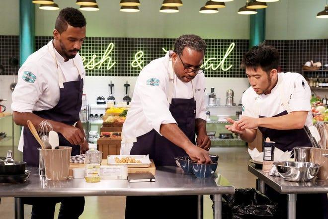 """""""Top Chef"""" contestants Chris Viaud, Roscoe Hall, Shota Nakajima shoot a Season 18 challenge at the Portland, Ore., set."""