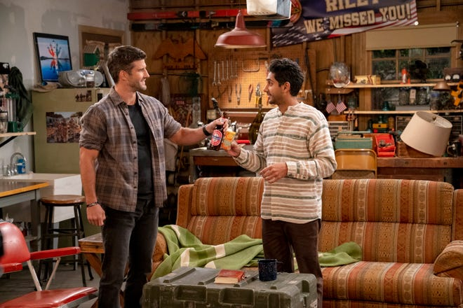 """Parker Young as Riley and Adhir Kalyan as Al in """"United States of Al."""""""