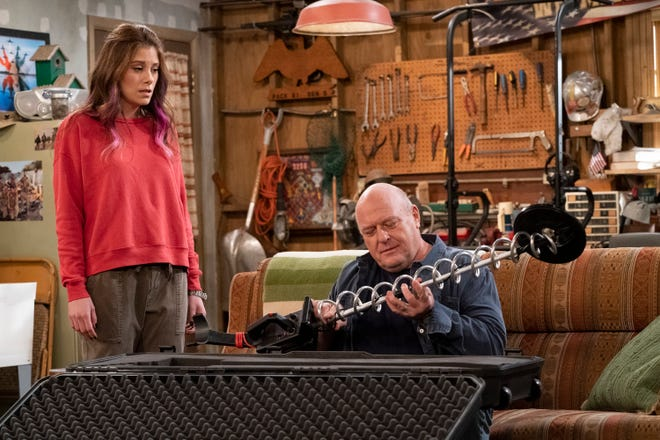 "Elizabeth Alderfer as Lizzie, Dean Norris as Art on ""The United States of Al."""
