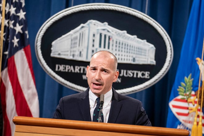 Michael Sherwin, acting U.S. attorney for Washington, D.C., speaks during a news conference at the U.S. Department of Justice on January 12, 2021.