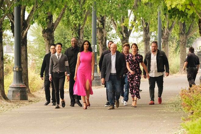 """Top Chef"" is bringing back series favorites as guest judges: From left: Dale Talde, Melissa King, Gregory Gourdet, host Padma Lakshmi, Kwame Onwuachi, head judge Tom Colicchio, Richard Blais, judge Gail Simmons, Amar Santana."